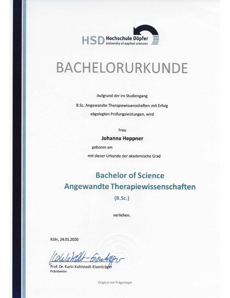 Bachelor Urkunde