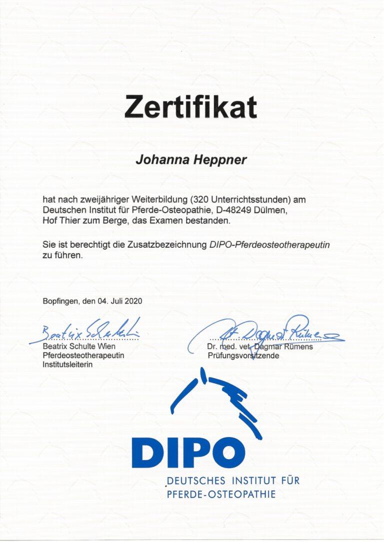 DIPO Zertifikat