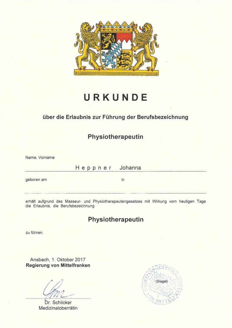 Physiotherapie Urkunde
